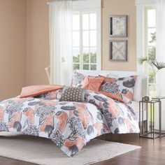Girls Pink Grey Floral Theme Comforter Full Queen Set Pretty Abstract Wild Flower Bedding Girly Flowers Pattern Solid Themed Dark Gray Salmon Coral