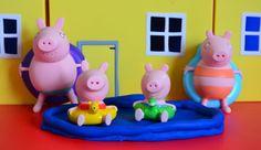 NEW Surprise Eggs Peppa Pig Swimming Pool M&M's Chocolate Play Doh Peppa...