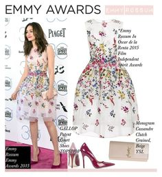 """No 155:Dress Your Favorite Emmy Nominee!-Emmy Rossum"" by lovepastel ❤ liked on Polyvore featuring Oscar de la Renta, Topshop and emmyredcarpet"