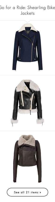 """Go for a Ride: Shearling Biker Jackets"" by polyvore-editorial ❤ liked on Polyvore featuring shearlingbikerjackets, outerwear, jackets, blue moto jacket, short jacket, rider jacket, ted baker jacket, blue biker jacket, coats и coats & jackets"