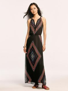 Also MUCH cuter in person. I'm pretty curvy so these cuts don't usually flatter my figure, but this dress looked super adorable when I tried it on. Waiting for it to go on sale! Women's Patterned Chiffon Maxi Dresses