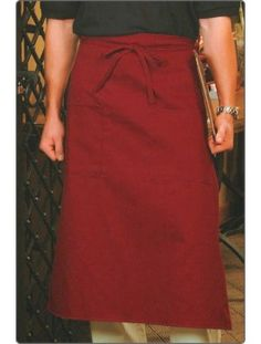 Two-Pocket, Long Bistro Apron, available in four colors. Size: L X W. Restaurant Aprons, Smocking, Black And Grey, Burgundy, Pocket, Cotton, Costumes, Colors, Women