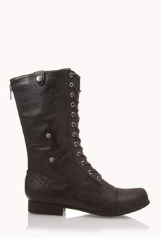 Fold-Over Combat Boots | FOREVER21 Do you prefer boots or booties? #CombatBoots #LaceUp #FauxLeather
