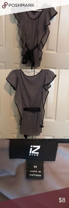 Grey and black short sleeved blouse Grey and black sleeveless blouse.  Black satin tie can tied in the front, back, or to the side. Iz Byer Tops Blouses