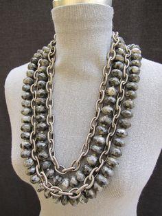 GREY SCALE-Chunky/Labradorite/Stone/Bold/Black/Jade/Collar/Statement Piece Necklace