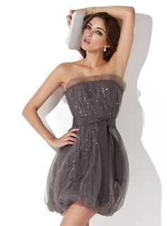 $155.99 - Sheath/Column Scalloped Neck Short/Mini Tulle Cocktail Dress With Ruffle Sequins  www.dressfirst.com