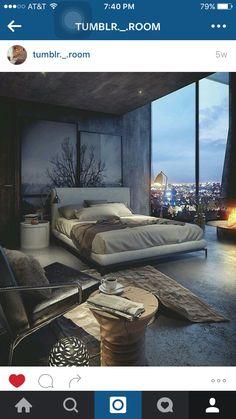 extravagantes Schlafzimmer mit Backsteinwand in Schwarz gestrichen ...