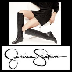 """HP⚫️$60⚫️JESSICA SIMPSON KNEE HIGH CHIC BOOTS You'll be on the front side of fashion with these chic boots! Easy pull-on construction, faux leather upper with neoprene back panel, man-made lining, lightly cushion man-made footbed, wrapped wedge heel and man-made sole. Measurements; heel height 1.5"""" Shaft 17.5"""" Circumference 15"""" Jessica Simpson Shoes Heeled Boots"""