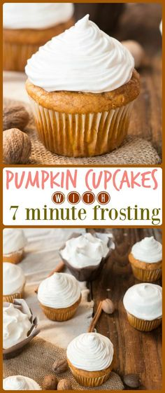 Pumpkin Cupcakes with 7-Minute Maple Frosting are perfect all fall and winter. The cake is tender and moist and the frosting is like marshmallow! via @ohsweetbasil