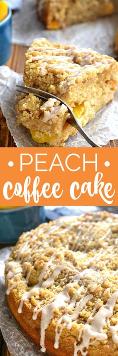 Peach Coffee Cake combines rich, moist coffee cake and an easy fruit cobbler made with delicious fresh peaches and a sweet cinnamon drizzle. THE perfect coffee cake recipe for spring, and destined to become a family favorite! Easy No Bake Desserts, Homemade Desserts, Easy Desserts, Delicious Desserts, Tart Recipes, Best Dessert Recipes, Desert Recipes, Amazing Recipes, Breakfast Recipes