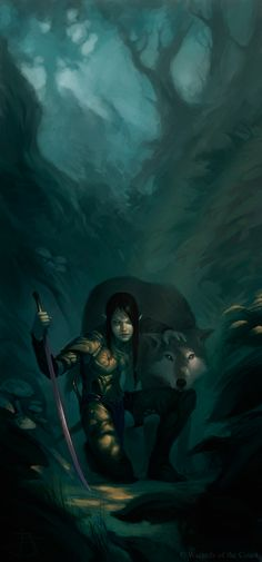 Dungeons and Dragons by Tyler Jacobson. Ranger and wolf in the wilderness