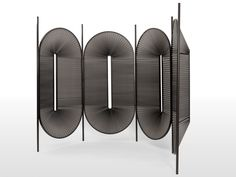 Designed by Christophe de la Fontaine. Typology Room divider. Collection Metropolitan Improvement-2015 Material/Finish Powder-coated steel, black/bordeaux/yellow, pleated fabric. Dimensions …