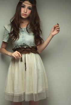 bridesmaid Ashley's dress... to wear with brown/camel cowboy boots. New Arrival! Lovely Fashion Women' s Vintage Jean Denim Retro Blue Top White With belt Party Dress