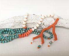 Ketten lang - Lange Kette, Koralle Mix - ein Designerstück von moanda bei DaWanda