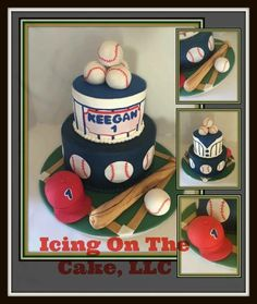Baseball themed birthday cake!  Covered in buttercream with fondant accents. Balls, hat & bat out of krispy treats covered in fondant.   www.facebook.com/icingonthecake1