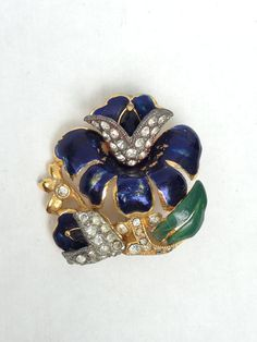 #VogueTeam #vintage 1940s Enamel and Rhinestone Floral Brooch Set in Stunning Gold Metal - A True Beauty!