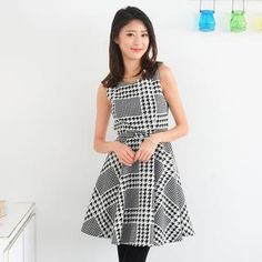 Houndstooth Sleeveless Midi Dress with Belt from #YesStyle <3 59 Seconds YesStyle.com