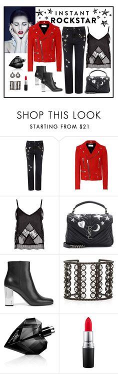 """Yves Saint Laurent Suede Biker Jacket Look"" by romaboots-1 ❤ liked on Polyvore featuring Alexander McQueen, Yves Saint Laurent, McQ by Alexander McQueen, Nancy Newberg, Diesel and MAC Cosmetics"