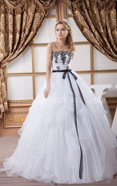 US$138.90-Strapless Ruffled A Line Black and White Wedding Dress 2016 Fall Weddings.  http://www.newadoringdress.com/strapless-ruffled-a-line-dress-with-appliques-and-ribbon-pGC_707110.html. Shop for Best wedding dresses, Lace wedding dress, modest wedding dress, strapless wedding dress, backless wedding dress, wedding dress with sleeves, mermaid wedding dress, plus size wedding dress, We have great 2016 fall Wedding Dresses on sale. Buy Wedding Dresses online at NewAdoringDress.com today!