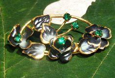Vintage Austrian Green Floral Brooch by GoldiesNaturalGems on Etsy, $32.00