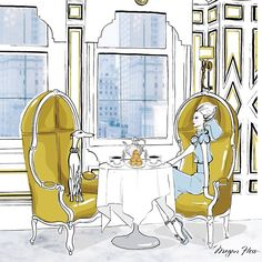 Brunch at Bergdorfs. My illustration for Bergdorf Goodman in New York. One of my favourite places on earth!