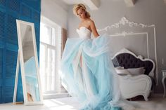 Detachable Blue Tulle Wedding Skirt / Dusty Blue Bridal Separates / Ombre Two Piece Wedding Dress/ Dip Dyed Wedding Dress / Ombre Overskirt - - Ombre Wedding Dress, Tulle Wedding Skirt, Two Piece Wedding Dress, One Shoulder Wedding Dress, Wedding Dresses, Wedding Lace, Blue Wedding, Wedding Bride, Dream Wedding