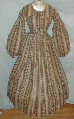 beige & brown yoked dress made of cotton