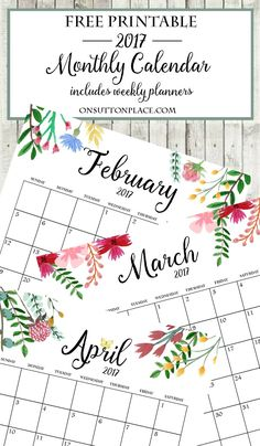 2017 Free Printable Monthly Calendar | Includes free year at a glance, individual months, weekly planner, weekly meal planner & an inspirational printable.