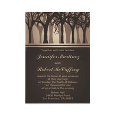 Gorgeous and elegant wedding invitations that have a beautiful light brown autumn woods scenery. This fall wedding menu is brown with a glowing background. #autumn #fall #wedding #halloween #october $2.20