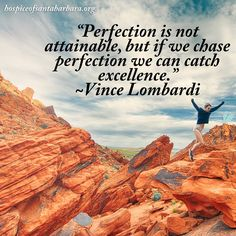 """""""Perfection is not attainable, but if we chase perfection we can catch excellence."""" ~Vince Lombardi"""