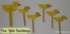 "Puppets are a great way to get little kids involved in books. We made these Simple puppets to retell the story ""Five little Ducklings""  #readforgood"