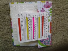A third example of a combination joy fold, gate fold, birthday card. This one closed with a stamped paper band.