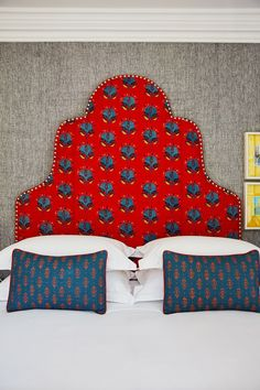 The Most Gorgeous Headboards to Inspire Your Next Bedroom Studded Headboard, Red Headboard, Custom Headboard, Red Room Decor, Red Party Decorations, Hotel Sheets, Next Bedroom, Bedding Inspiration, Nyc Hotels