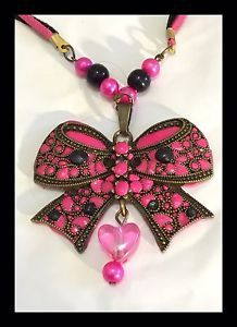 Large Pink AND Black Bronze BOW Pendant Necklace | eBay