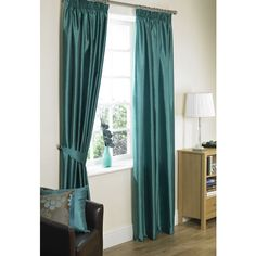 Wilko Faux Silk Curtains Lined with Tiebacks Teal 66inx72in