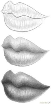 Delineate Your Lips - How to draw lips correctly? The first thing to keep in mind is the shape of your lips: if they are thin or thick and if you have the M (or heart) pronounced or barely suggested. Cool Art Drawings, Pencil Art Drawings, Art Drawings Sketches, Easy Drawings, Lips Sketch, Drawing Techniques, Eye Drawing Tutorials, Art Sketchbook, Drawing People