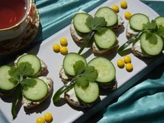 Cucumber and Cream Cheese Tea Sandwiches for St. Patrick's Day