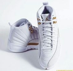White and gold Jordans