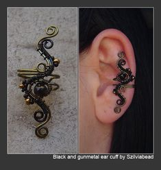 black and gunmetal ear cuff by bodaszilvia.deviantart.com on @DeviantArt