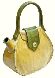 "^FASHIONABLE^  ~~  ""Haute hand-built ""tea bag""""    from Designer ~Meghan Runkle Bernard~ of Rare Earth Studio Woolworth Walk, Asheville, North Carolina."