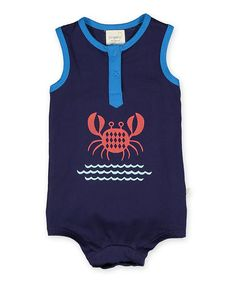 Another great find on #zulily! Navy Crab Sleeveless Bodysuit - Infant #zulilyfinds