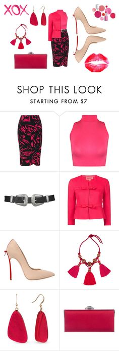 """""""Untitled #1392"""" by deirdre35 ❤ liked on Polyvore featuring Yoek, WearAll, Topshop, Giambattista Valli, Casadei, Lanvin, Kim Rogers, Judith Leiber, Clinique and GALA"""