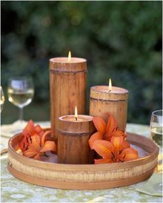 Outdoor Lighting Ideas DIY bamboo candles add a tropical feel to outdoor reception tables Beach Wedding Centerpieces, Candle Centerpieces, Candle Lanterns, Diy Candles, Candels, Luau Wedding, Pillar Candles, Destination Wedding, Candle Arrangements