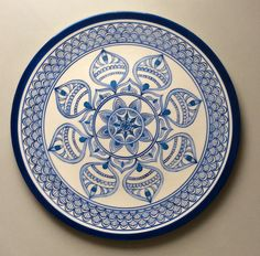 Prato mandala azul