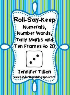 Here's a packet that includes a variety of game boards and sets of cards for numerals, number words, tally marks and ten frames to 20.