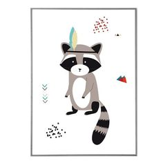 Poster for children indian raccoon - original print - perfect for a baby room - illustration racoon with feather - baby gift - birth gift Raccoon Illustration, Indian Baby, Birth Gift, Racoon, Raccoon Art, Nursery Prints, Illustrations, Kids Decor, Kids Playing