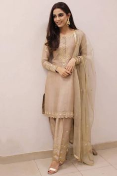 This Beige Banglori Silk Trouser Pant Suit which will make all the goddesses of love and beauty to write you for your advice. This Round neck and Full Sleeves dress embroidered with stone, dori and gota patti work Pakistani Fashion Party Wear, Pakistani Couture, Pakistani Outfits, Indian Outfits, Indian Fashion, Women's Fashion, Simple Pakistani Dresses, Pakistani Dress Design, Indian Dresses