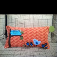 Vintage stitch and felt pillow from Busy Day Studio @ CR Laine for High Point Furniture Market.
