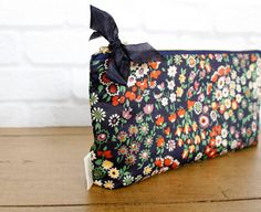 Navy Floral Liberty of London Clutch Zipper Pouch by AppleWhite