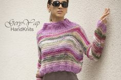 Hand knitted mohair cropped women's sweater hand made boho style pink multicolored lightweight gift for her handcrafted loose knit READY by on Etsy Loose Knit Sweaters, Yellow And Brown, Fit S, Boho Style, Hand Knitting, Boho Fashion, Gifts For Her, Sweaters For Women, Patterns